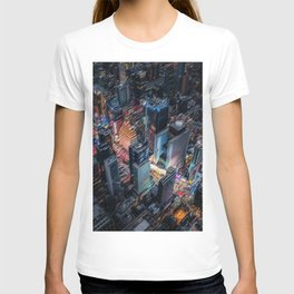 Colorful Times Square Aerial View - New York City Landscape Painting by Jeanpaul Ferro T-shirt