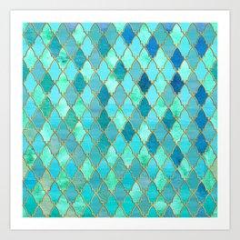 Aqua Teal Mint and Gold Oriental Moroccan Tile pattern Art Print
