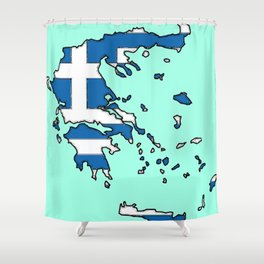 Greece Map with Greek Flag Shower Curtain