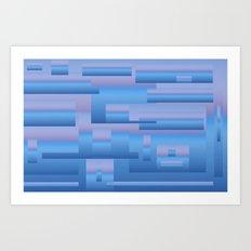 blue modern Art Art Print