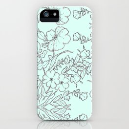 Dotted Floral Scroll in Mint and Grey iPhone Case
