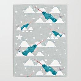 Sea unicorn - Narwhal grey Poster