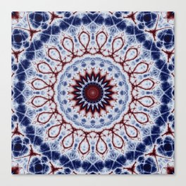 Mandala Fractal in Red White and Blue 01 Canvas Print