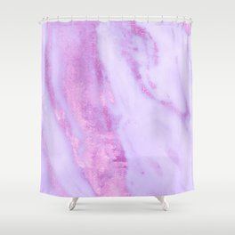 Pink Marble - Shimmery Magenta Gold Marble Metallic Shower Curtain