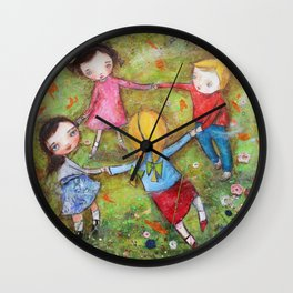 Autumn Mistral, playing ring-a-ring-a-rosie on a windy day Wall Clock