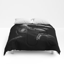 Guitar Woman Black and White Comforters