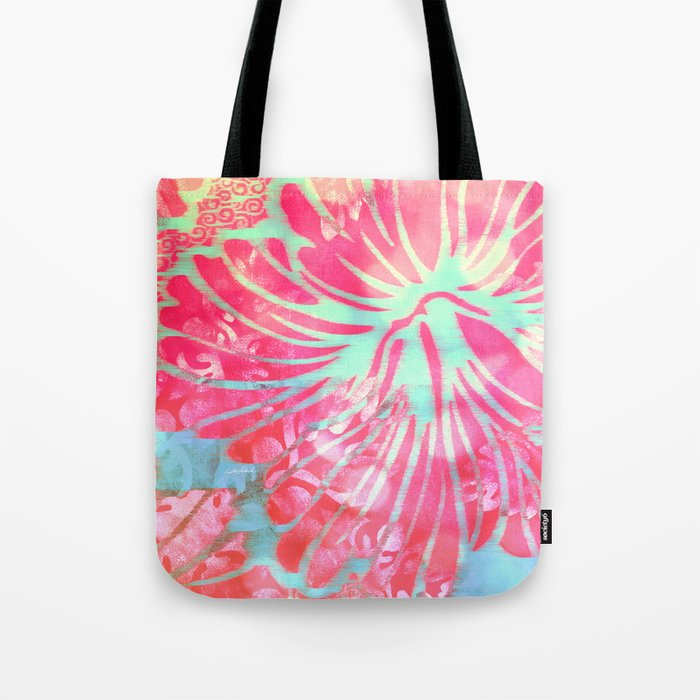 Blue Water Hibiscus Snowfall Tote Bag
