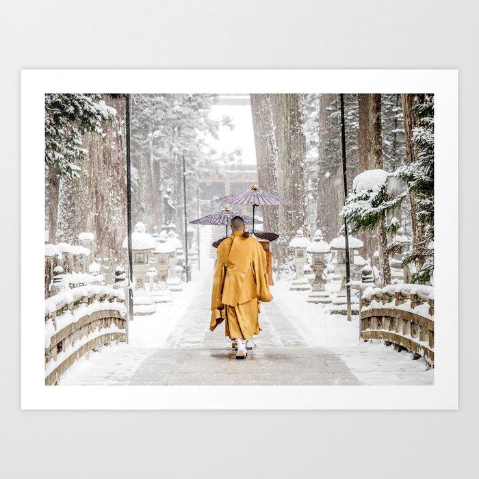Japanese Buddhist Monks in Winter Art Print