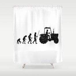 Farmer Evolution Tractor Retro Look Shower Curtain