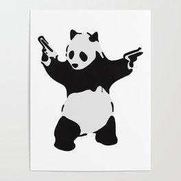 Banksy Pandamonium Armed Panda Artwork, Pandemonium Street Art, Design For Posters, Prints, Tshirts Poster