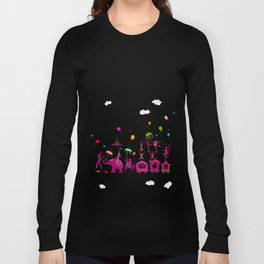 colorful circus carnival traveling in one row on white background Long Sleeve T-shirt