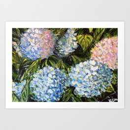 HEARTFELT LOVE - HYDRANGEAS - Original abstract floral painting by HSIN LIN / HSIN LIN ART Art Print