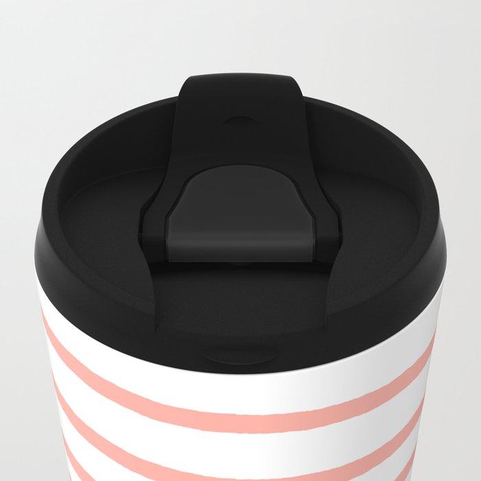 Simply Drawn Stripes Salmon Pink on White Metal Travel Mug