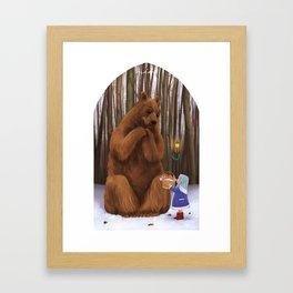 Bear and little girl Framed Art Print