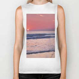 Barrosa Beach Waves At Sunset. Cadiz Biker Tank