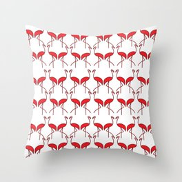 Birds Red Flamingos on the Beach Throw Pillow