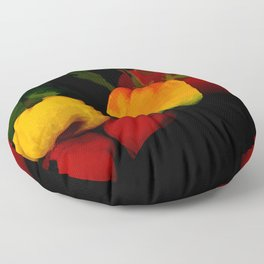 Peppers in Hot Abstract Floor Pillow