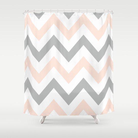 Peach Gray Chevron Shower Curtain By N A T