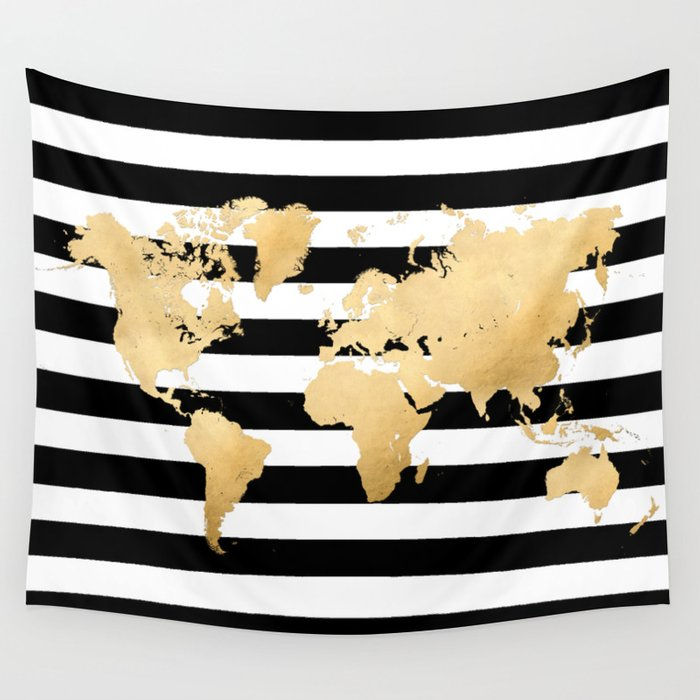 Gold world map black and white stripes wall tapestry by gold world map black and white stripes wall tapestry gumiabroncs Images