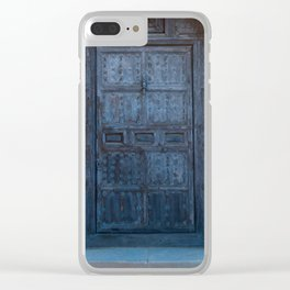 Old Blue Tarnished Cathedral Door Clear iPhone Case