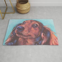 The long haired Dachshund from an original painting by L.A.Shepard Rug