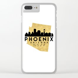 PHOENIX ARIZONA SILHOUETTE SKYLINE MAP ART Clear iPhone Case