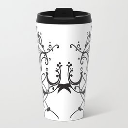 Flower of Life Abstract line art design in black and white Travel Mug