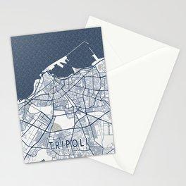 Tripoli City Map of Libya - Coastal Stationery Cards
