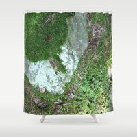 moss Shower Curtains featuring moss by L Step
