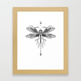 Dragon Fly Tattoo Black and White Framed Art Print