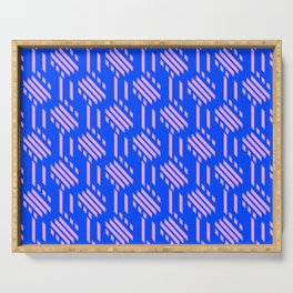 Imperfect Geometric Stripes Pattern - Blue Pink Serving Tray