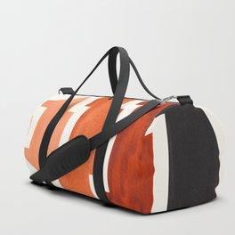 Burnt Sienna Watercolor Ombre Geometric Aztec Triangle Pyramid Pattern Minimalist Mid Century Design Duffle Bag