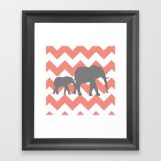 Chevron Elephants Framed Art Print