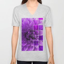 Chequered Flower design Unisex V-Neck