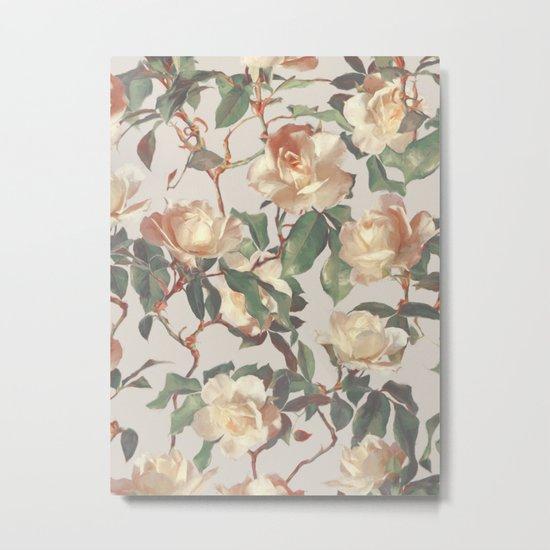Soft Vintage Rose Pattern Metal Print