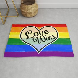 Pride Flag Love is Love-Water Color Graphic  Design  Rug