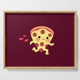 Cute running pizza slice Serving Tray