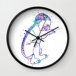 Baby Art Colorful Blue Purple Watercolor Art Spine Art Brain Art Pregnancy Gift Newborn Midwife Gift Wall Clock