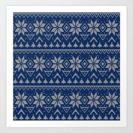 Knitted Scandinavian pattern 2 Art Print