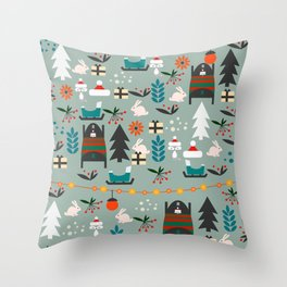 Everybody's waiting for Santa Throw Pillow