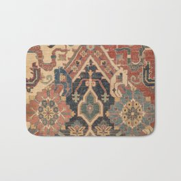 Geometric Leaves I // 18th Century Distressed Red Blue Green Colorful Ornate Accent Rug Pattern Bath Mat