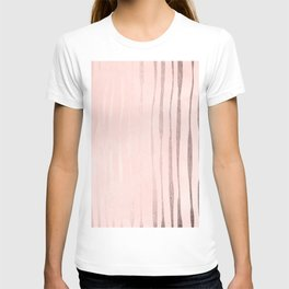 Rose Gold Pastel Pink Vertical Stripes T-shirt