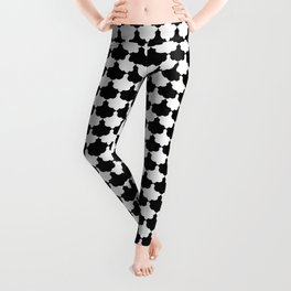 Black and White Scallop Repeat Pattern Leggings