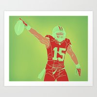 49ers Art Prints featuring 49ers Michael Crabtree by Courtney Charlton