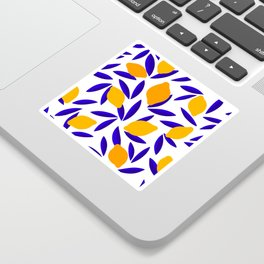 Blue and yellow Lemon Summery Pattern Sticker