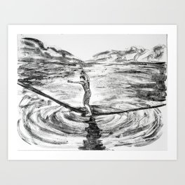 Waterline Monotype -- slackline Art Print