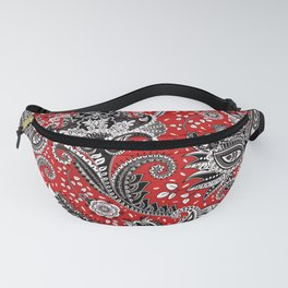 Red Black & White Floral Paisley Fanny Pack