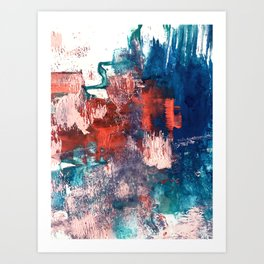 Bali: a vibrant, colorful abstract in blue, green, and pink/red Art Print