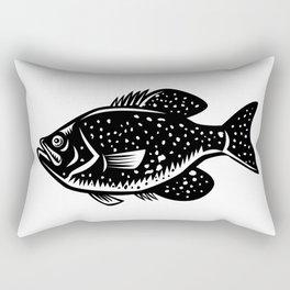 Crappie Fish Woodcut Rectangular Pillow