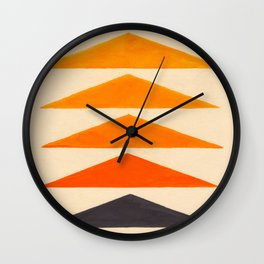 Vintage Scandinavian Orange Geometric Triangle Pattern Wall Clock